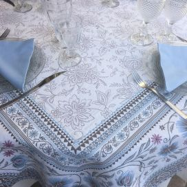 "Rectangular Jacquard tablecloth  ""Seillans"" blue, Tissus Toselli"