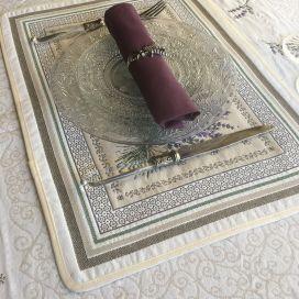 "Set de table Jacquard, Olives et lavandes ""Castillon"" Tissus Toselli, Nice"