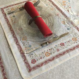 """Set de table Jacquard, poules et coqs """"Lafayette"""" Tissus Toselli, Nice"""