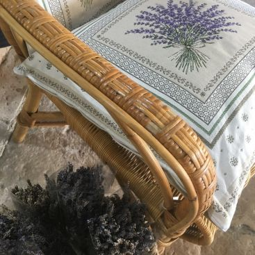 """Provence Jacquard cushion cover, Olives and lavender """"Castillon"""" from Tissus Toselli in Nice"""