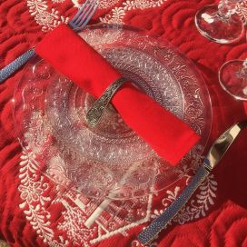 "Serviette de table en coton ""Coucke"", uni rouge cerise"