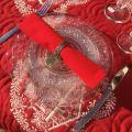 "Cotton table napkin ""Coucke"", plain red cherry"