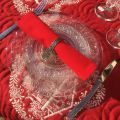 "Serviette de table en coton ""Coucke"" uni rouge cerise"