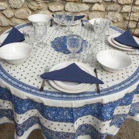 """Nappe provençale ronde en coton enduit """"Tradition"""" Bleue et blanche """"Marat d'Avignon"""""""