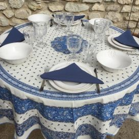 "Coated cotton round tablecloth ""Tradition"" blue and white ""Marat d'Avignon"""
