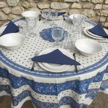 """Nappe ronde en coton  enduit """"Tadition"""" Bleue et blanche """"Marat d'Avignon"""""""