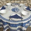 """Nappe ronde en coton  enduit """"Tradition"""" Bleue et blanche """"Marat d'Avignon"""""""