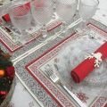 """Set de table Jacquard """"Vallée"""" rouge et gris Tissus Toselli, Nice"""