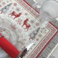 "Provence Jacquard placemat,""Vallée"" red and grey from Tissus Toselli in Nice"