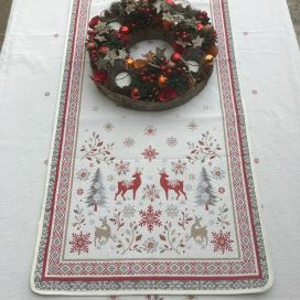 "Jacquard table runner  ""Vallée"" red and grey Tissus Tosseli"