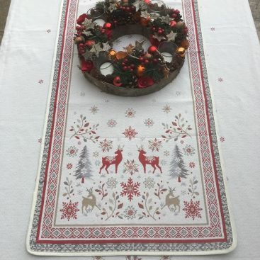 """Chemin de table en Jacquard """"Vallée"""" rouge et gris """" Tissus Tosseli"""