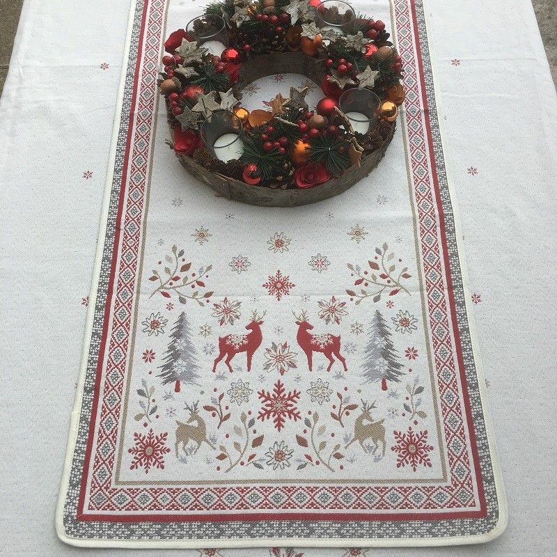 """Jacquard table runner  """"Vallée"""" red and grey Tissus Tosseli"""