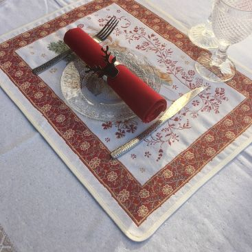 """Jacquard placemat,""""Manouchka"""" from Tissus Toselli in Nice"""