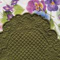 "BLANC MARICLO, oval  table mats ""Boutis fashion"" green color ""Lindsay"""