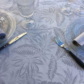 "Nappe ronde coton et Polyester ""Bananier"" gris perle"