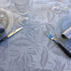 "Round Jacquard tablecloth, reversible ""Bananier"" pearl grey"