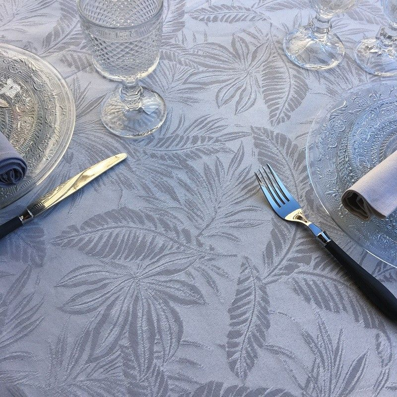 """Rectangular tablecloth cotton and polyester """"Bananier"""" pearl grey"""