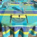 "Webbed Jacquard tablecloth, stain resistant Teflon ""Maussanne"" Turquoise"