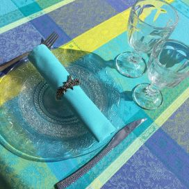"Rectangular Jacquard tablecloth, stain resistant Teflon ""Maussanne"" Turquoise"