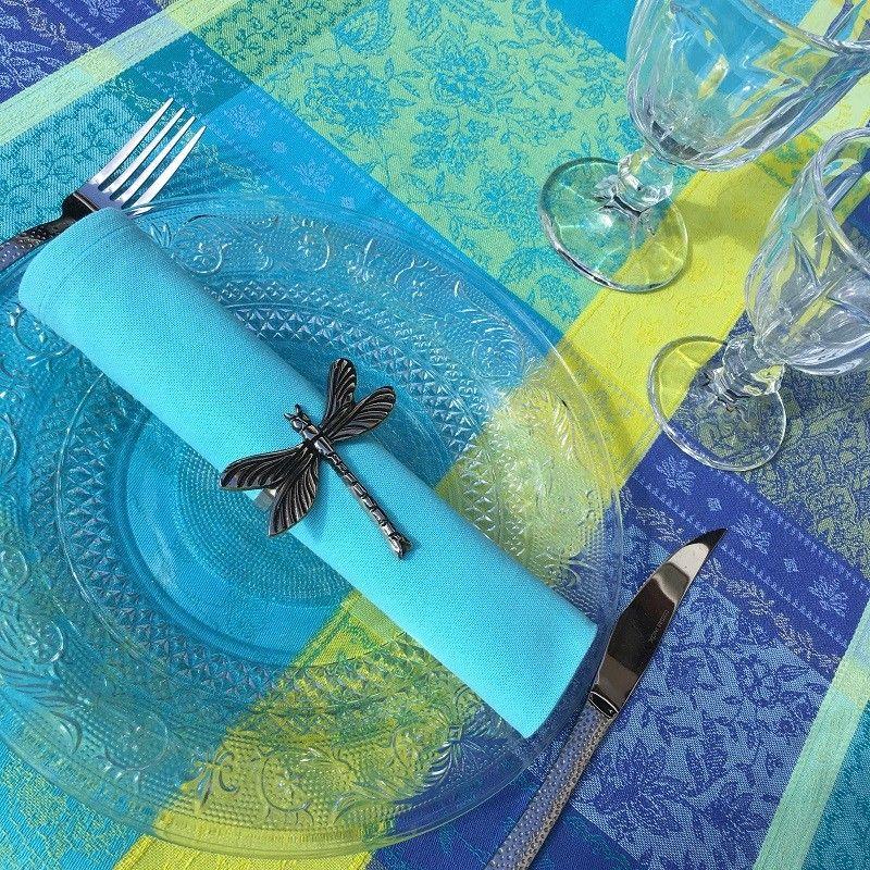 "Nappe rectangulaire Jacquard, anti-tâches ""Maussanne"" turquoise"