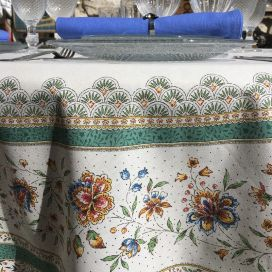 """Provence rectangular placed tablecloth in cotton """"Beaucaire"""" ecru"""
