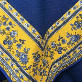 """Nappe damassée bleue, bordure """"Avignon"""" jaune et bleue"""
