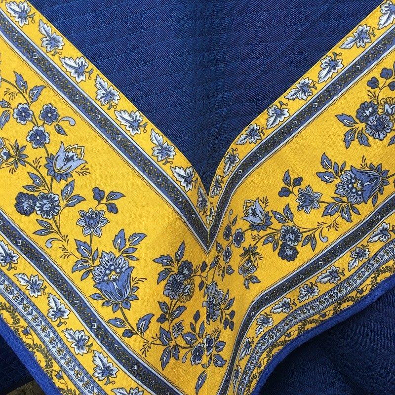 """Nappe damassée Bleu France, bordure """"Avignon"""" jaune et bleue"""