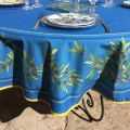 """Round tablecloth in cotton """"Nyons"""" blue, by TISSUS TOSELLI"""