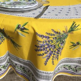 "Coated cotton round tablecloth ""Lauris"" yellow by TISSUS TOSELLI"