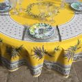 """Coated cotton round tablecloth """"Lauris"""" yellow by TISSUS TOSELLI"""