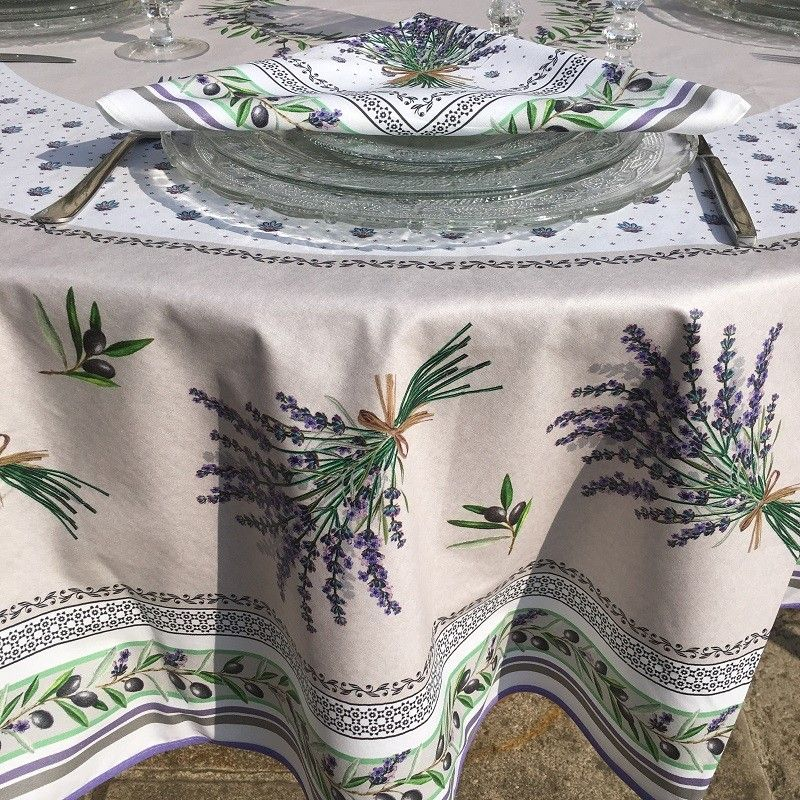 """Round tablecloth in cotton """"Lauris"""" olives and lavandes , by TISSUS TOSELLI"""