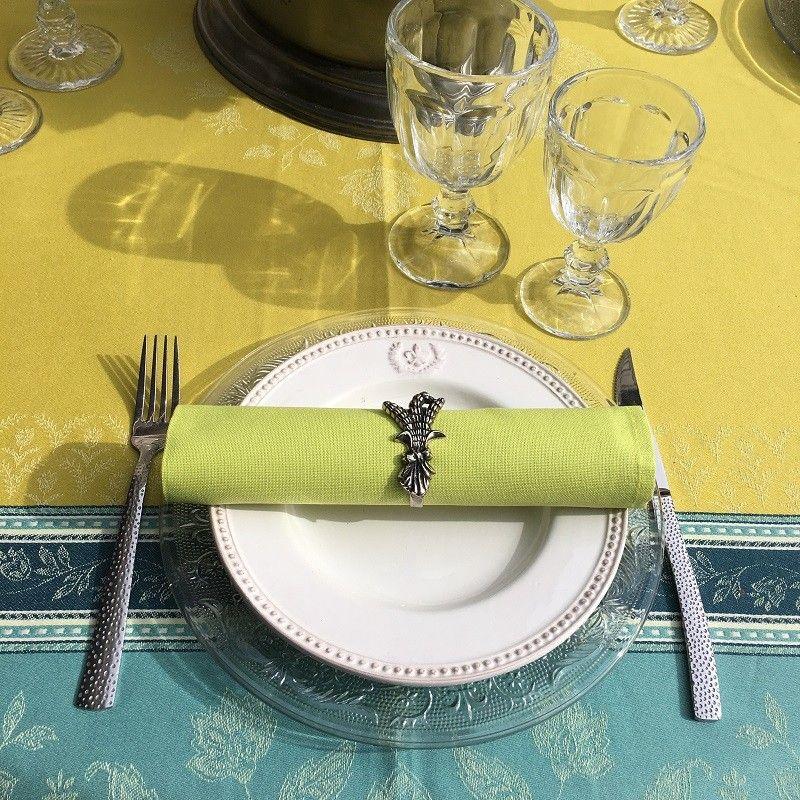 "Nappe tissée Jacquard, anti-tâches ""Ramatuelle"" absinthe et bleu"