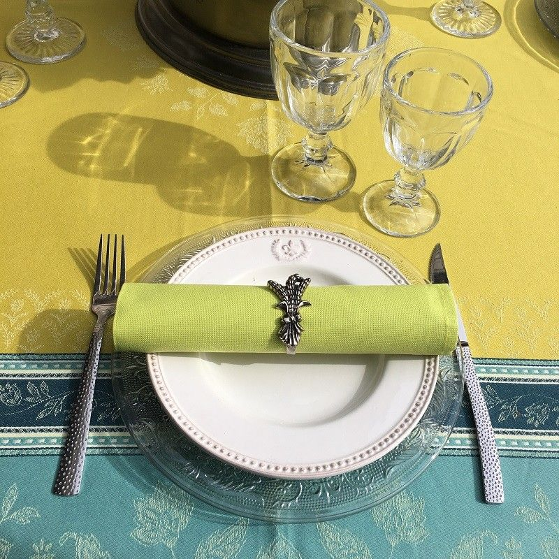 "Webbed Jacquard tablecloth, stain resistant Teflon ""Ramatuelle"" absinthe and blue"