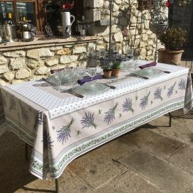 "Rectangular coated cotton tablecloth ""Lauris"" Lavenders and olives ecru"