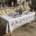 """Rectangular coated cotton tablecloth """"Lauris"""" Lavenders and olives ecru"""
