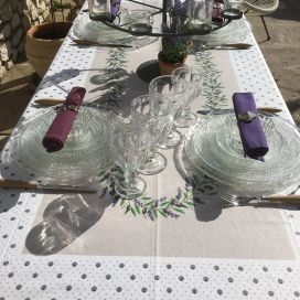 "Provence rectangular tablecloth in cotton ""Lauris"" Lavenders and olives ecru"