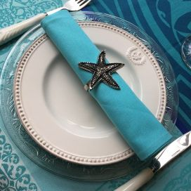"Silvery metal napkins ring ""Starfish"""