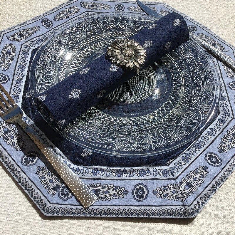"Set de table octogonal cadré ""Bastide"" Marine, Marat d'Avignon"