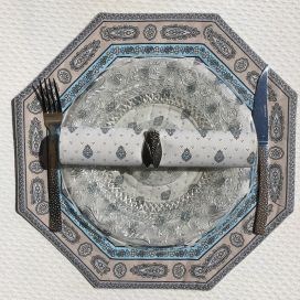 """Set de table octogonal cadré """"Bastide"""" Turquoise, Marat d'Avignon"""