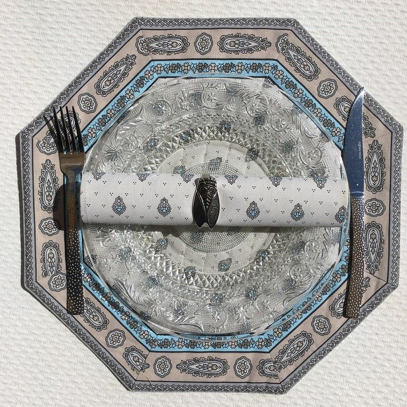 """Octogonal quilted placemats """"Bastide"""" Turquoise, by Marat d'Avignon"""
