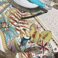 """Jacquard webbed tablecloth  Porto Rico""""  yellow and green, TISSUS TOSELLI, Nice"""