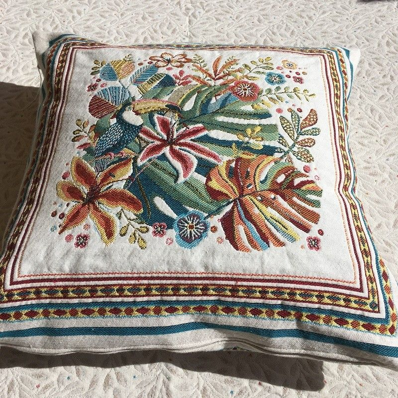 """Provence Jacquard cushion cover, """"Porto Rico"""" yellow and blue from Tissus Toselli in Nice"""