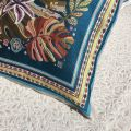 """Provence Jacquard cushion cover, """"Porto Rico"""" blue and yellow  from Tissus Toselli in Nice"""