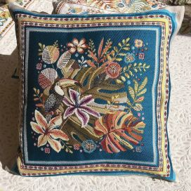 "Provence Jacquard cushion cover, ""Porto Rico"" blue and yellow  from Tissus Toselli in Nice"