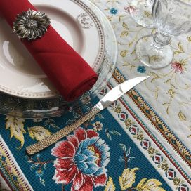 "Jacquard webbed tablecloth  ""Roussillon"" blue and gold, TISSUS TOSELLI, Nice"