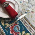 "Square Jacquard tablecloth  ""Roussillon"" blue and gold, by Marat d'Avignon"