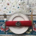 """Jacquard webbed tablecloth  """"Roussillon"""" blue and gold, TISSUS TOSELLI, Nice"""