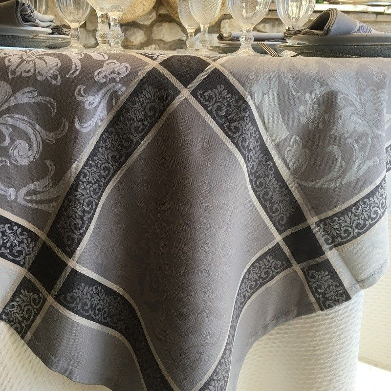 """Jacquard polyester tablecloth """"Eygalière"""" grey from """"Sud Etoffe"""""""