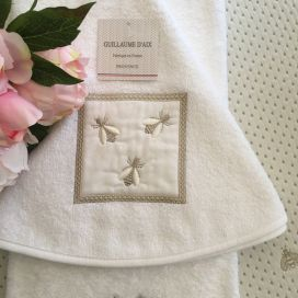 "Guillaume d'Aix, embrodery round hand towel ""Abeilles"""