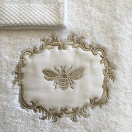 "Guillaume d'Aix, bath towel ""Abeilles"" white"